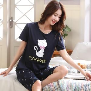 Image 2 - Big Size XXL 3XL 4XL 5XL Summer Pajamas Cotton Home Short Sleeve Women Sleepwear Thin Pyjama Women Pants Female Casual Lady Home