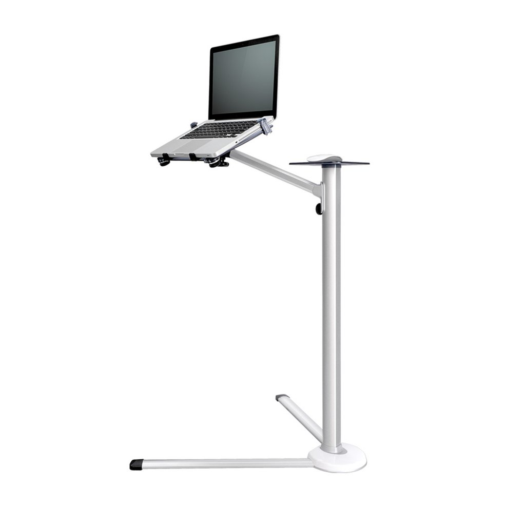18-84cm Height Adjustable 360 Degree Rotation Floor Stand Desk Holder Bracket With Mouse Tray For Laptop Macbook Phone Tablet m06 360 degree rotation holder bracket w c60 back clamp for 7 10 inch tablet pc black