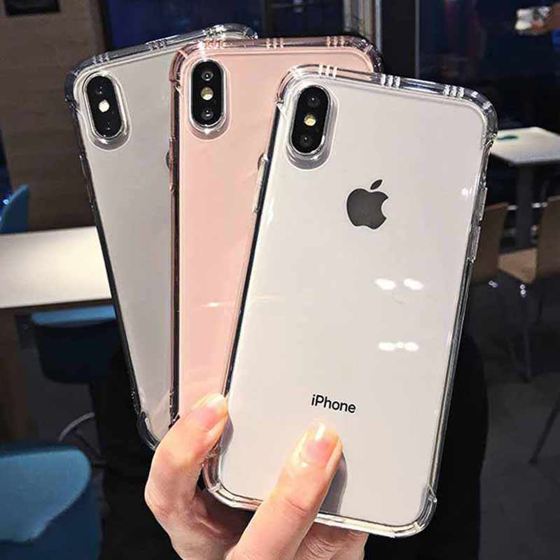 Caso claro à prova de choque do telefone para o iphone xr xs max x 6 s 7 8 plus tpu macio transparente caso do telefone para o iphone xr xs max 6 7 8 mais