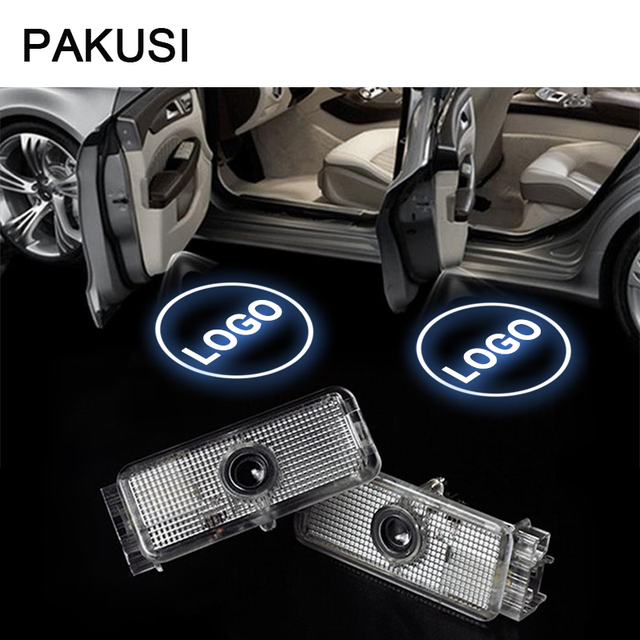 PAKUSI 2X Car LED Door Welcome Lights For Peugeot 508 408 607 806 807 RCZ 206 307 406 Accessories projector logo Car-styling