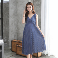 Summer Women Maternity Dresses For Pregnant Women Loose Clothing Maternity Fashion Stripe Home Mother Clothes