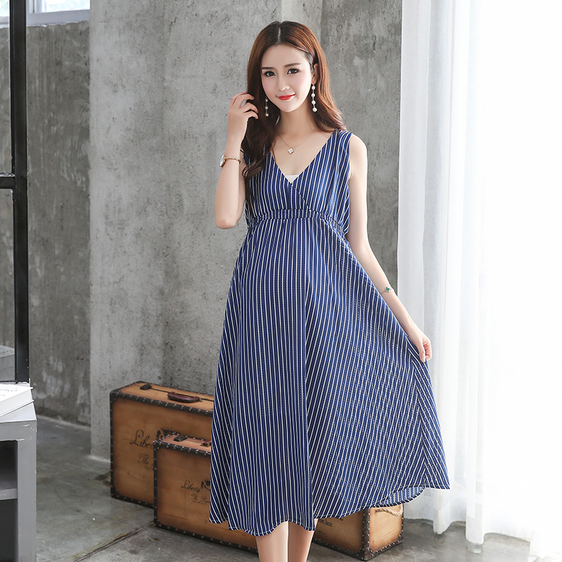 Summer Women Maternity Dresses for Pregnant Women Loose Clothing Maternity Fashion Stripe Home Mother Clothes Dress YL171 maternity clothes new stely fashion loose pure color cloak jacket clothes for pregnant women coat
