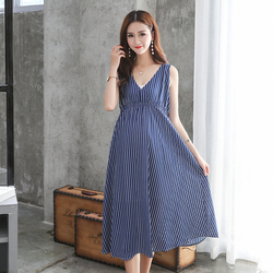 Summer Women Maternity Dresses for Pregnant Women Loose Clothing Maternity Fashion Stripe Home Mother Clothes Dress YL171