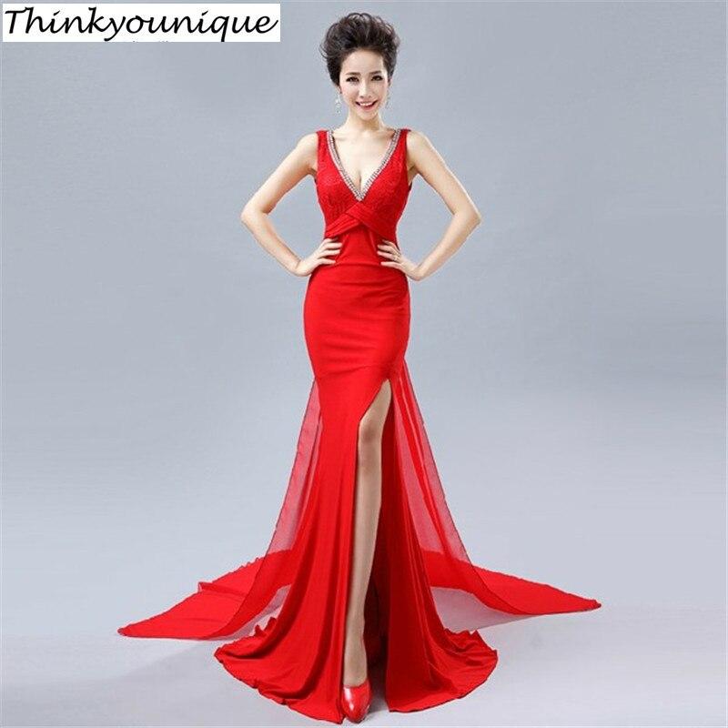 Clearance sale Lace V-neck Party Prom Gowns Formal Long Evening dresses vestido de festa robe de soiree Abendkleider H0557