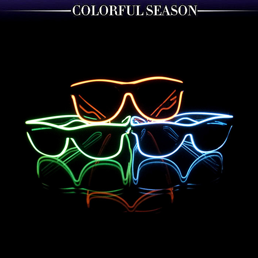 Brave 3 Colors Fashion El Wire Neon Led Flaring Glasses Bar Party Fluorescent Dance Dj Bright Glasses Atmosphere Activing Props Women's Sunglasses Apparel Accessories