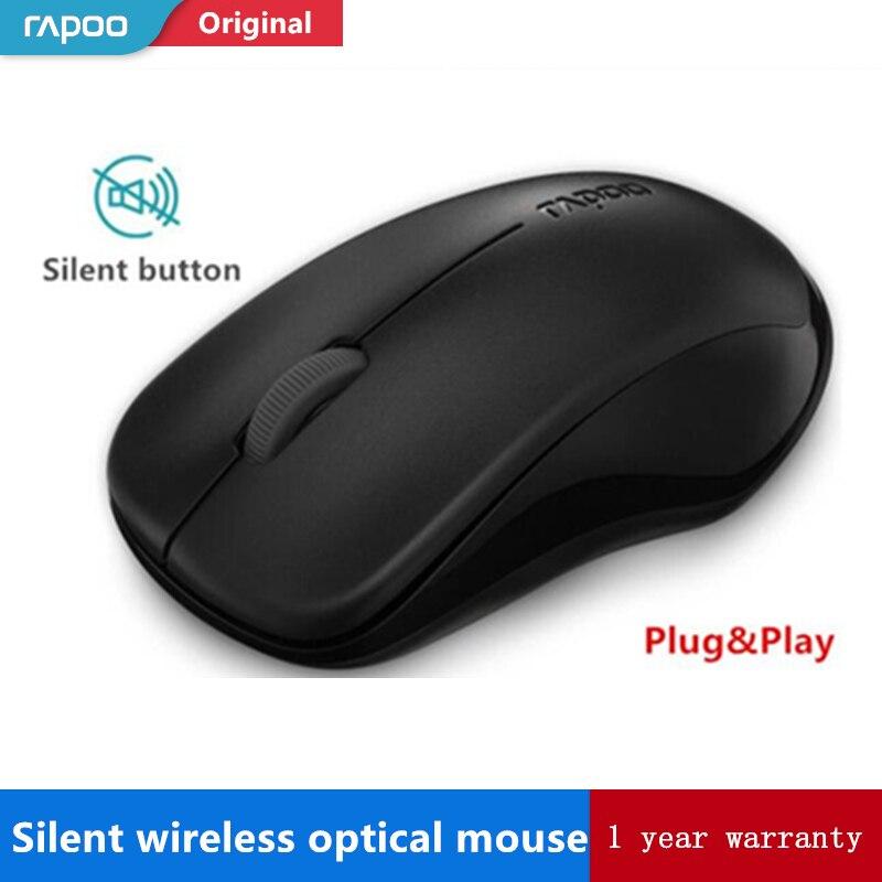 Original Rapoo Stille Drahtlose Optische Maus Mute-Taste Klicken Mini Geräuschlos Spiel Mäuse 1000 dpi für Macbook PC Laptop Computer