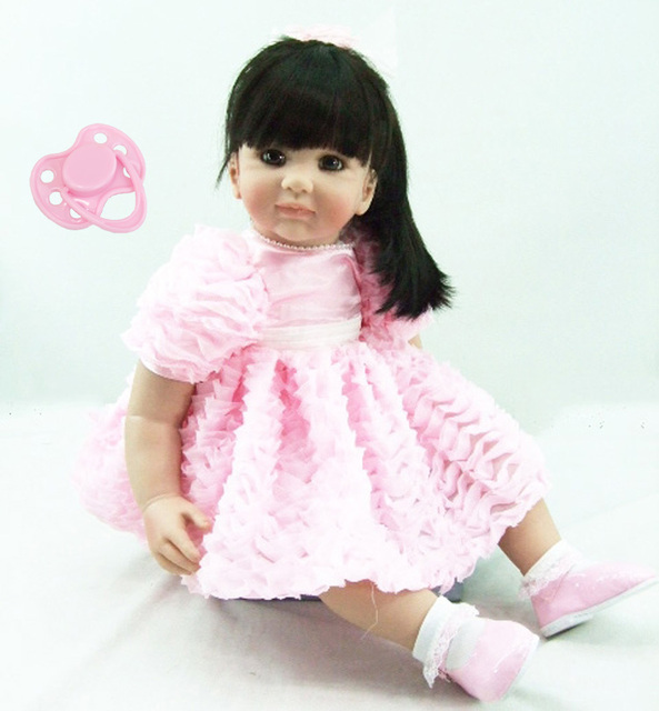 60cm Silicone Reborn Baby Doll Toys 24inch Vinyl Princess Toddler Girl Babies Doll With Long Dress