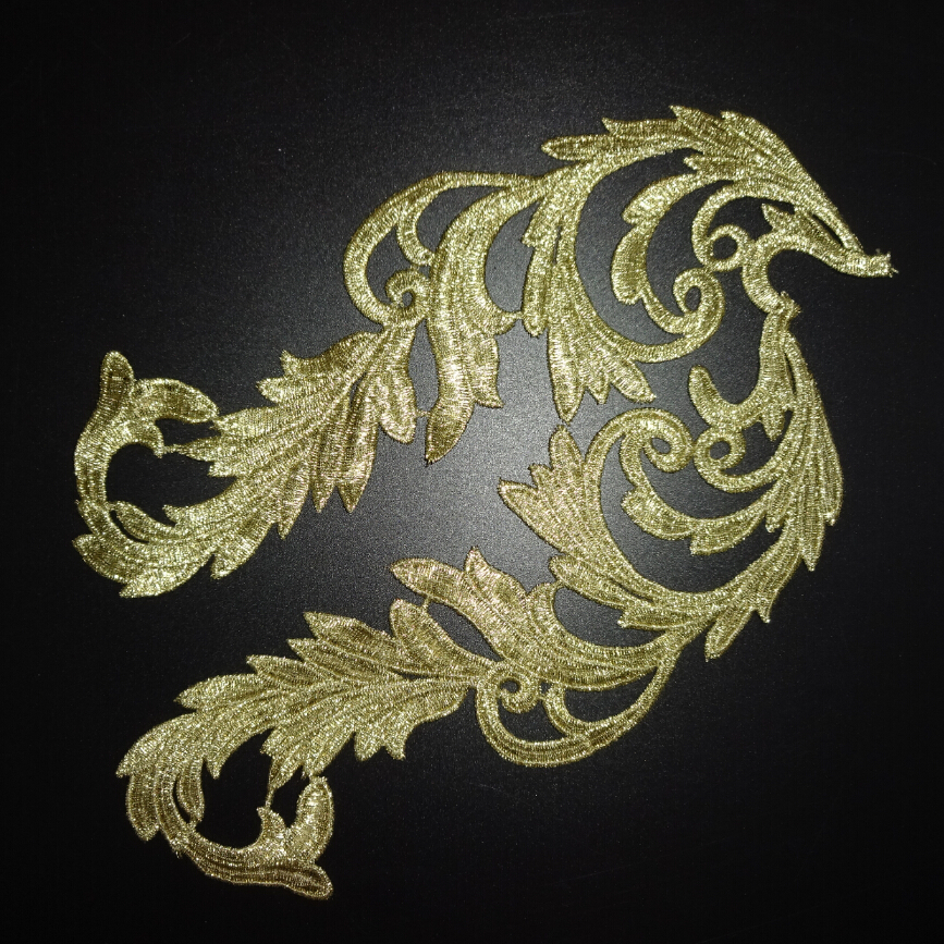 4x GILT GOLD LEAF CORNER TRIMMING Embroidered Sew Iron On Cloth Patch APPLIQUE