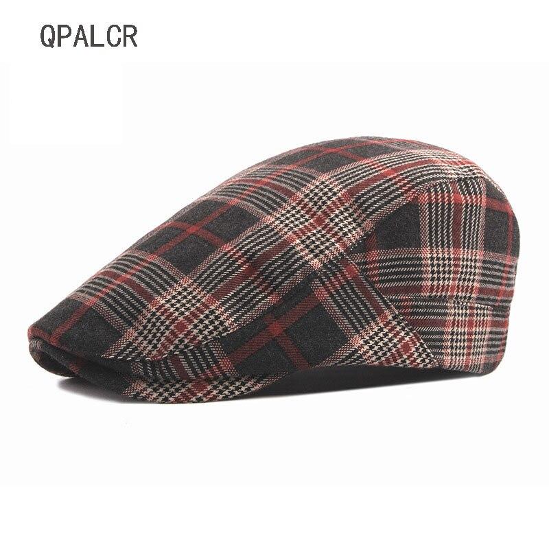 QPALCR High Quality Vintage Plaid Newsboy Caps Hats For Men Women Painter Ivy Cap Adult Unisex Cabbie Beret
