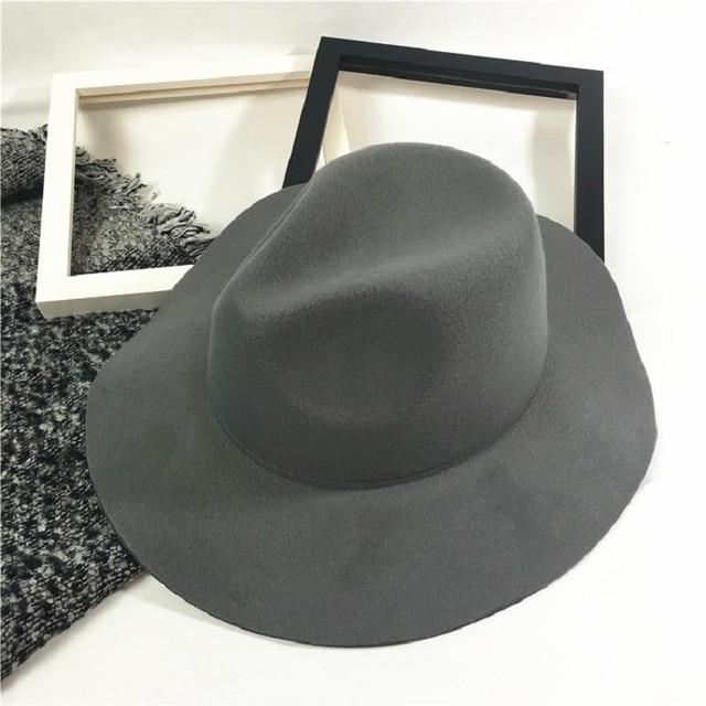 df0cdde2aab Fashion Unisex Wool Felt Hats With Wave Wide Brim Stylish Fedora Hat Panama Caps  Chic Solid