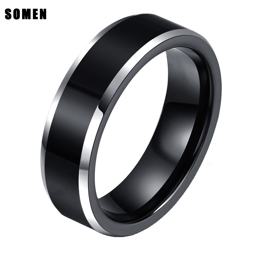8mm pria Hitam Titanium Cincin Dipoles Tepi Engagement Ring gelisah spinner Wedding Band bague homme anillos de promesa