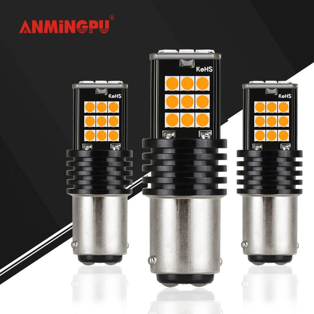 Anmingpu 2x Signal Lamp 1157 BAY15D LED Bulbs P21/5W PY21W P21W Led 1156 Ba15s Bau15s 24pcs 3030SMD Car Brake Light White 12V
