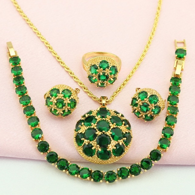 WPAITKYS Trendy Green Stone Gold Color Jewelry Set For Women