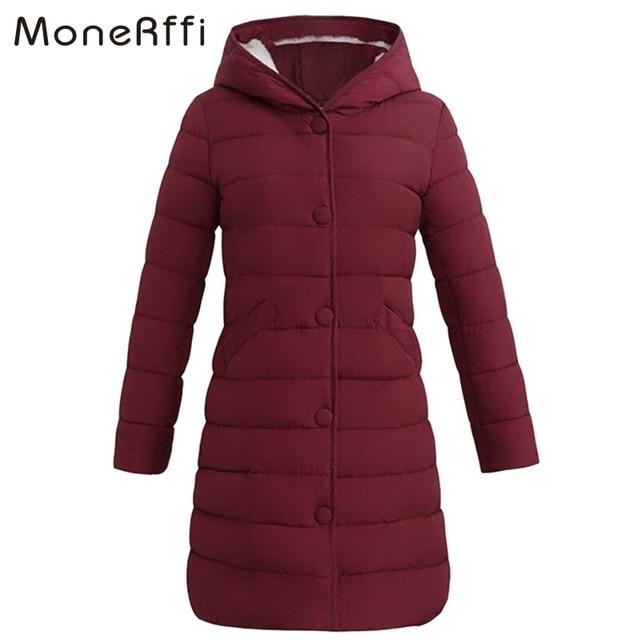 MoneRffi 2018 зима Для женщин Ультра легкое пальто однотонная теплая с капюшоном длинные кофты полиэстер теплый тонкий парки легкая одежда плюс Размеры