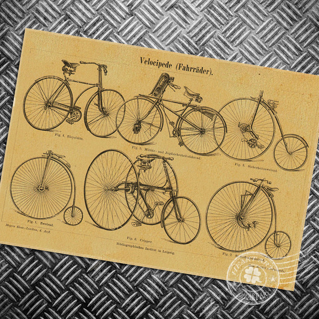 HD Vintage poster Retro Bicycle bike chart Old Painting Wall art ...