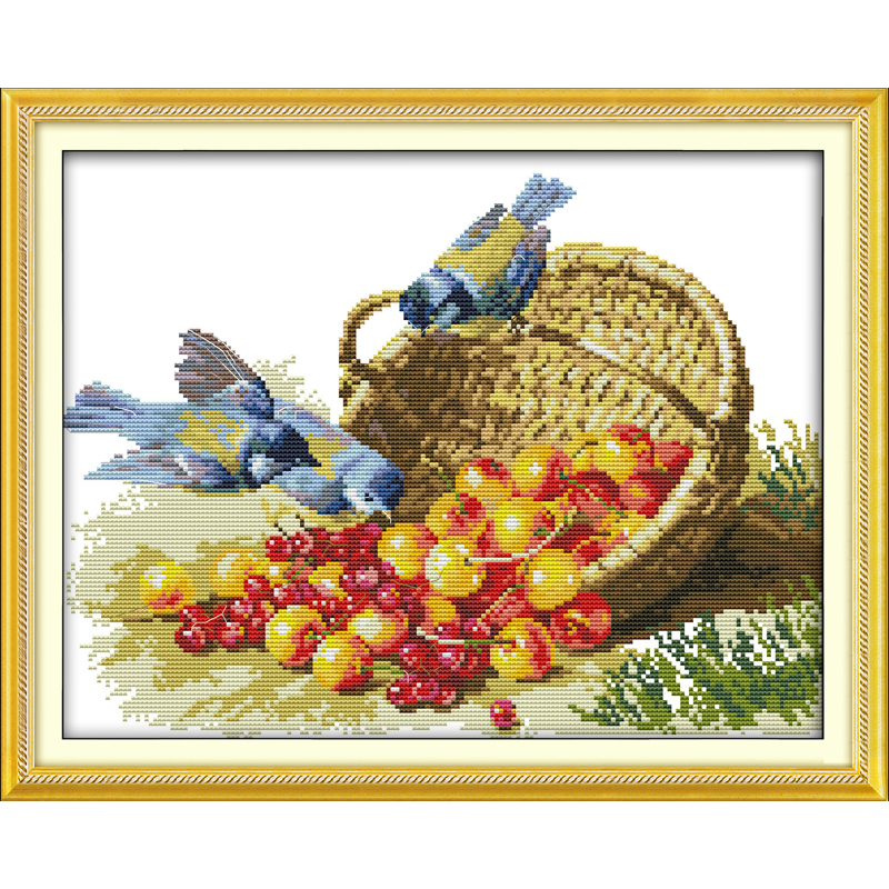 Everlasting love Christmas Bird and fruit Ecological cotton Chinese cross stitch kits 11 CT and 14 CT New store sales promotion
