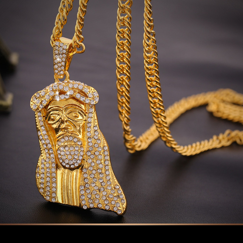 Hip Hop Rapper JESUS Christ Pave Full Zircon Pendants Necklace Men