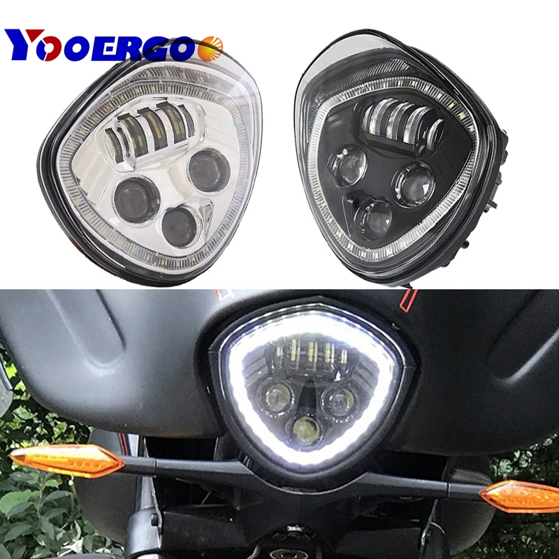 VICTORY Led Headlight with Halo Angel Eye DRL LED Headlamp For 07-17 Victory Motorcycle Cruisers Cross Road Country-Black (CHROM