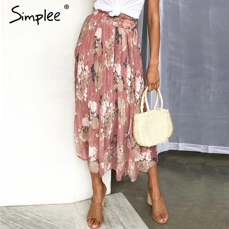 Volantes Elegante Floral Forro Vestido Impresión Mujer Mujeres Larga Simplee Verano Chiffon Falda Cintura Midi Con HRwUnqtdCq