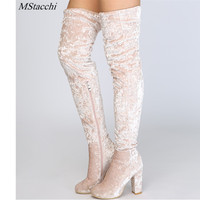Mstacchi 2018 New Fashion Over The Knee Boots Women Shoes Winter Stretch Keep Warm High Heels Long Shoes Femme Sexy Party Shoes
