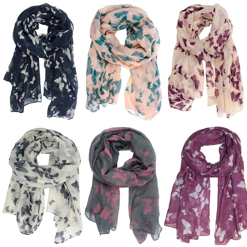 Soft Cotton Polyester Fashion Print Butterfly Shawl Scarves  Scraf