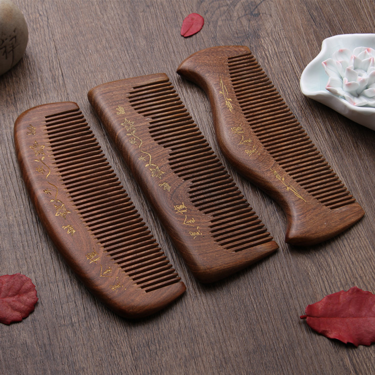 L50 comb Medium portable handle thick wood comb Anti-static wooden comb slydll portable stainless steel folding pet comb plastic handle