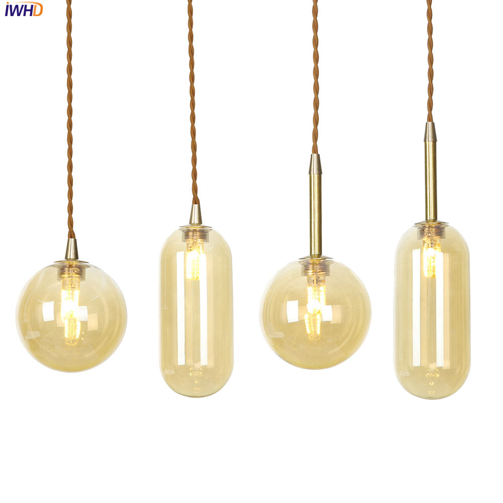 IWHD Copper Nordic LED Pendant Light Champagne Glass Hanglamp Simple Hanging Lamp Vintage Lights Fixtures For Home LightingIWHD Copper Nordic LED Pendant Light Champagne Glass Hanglamp Simple Hanging Lamp Vintage Lights Fixtures For Home Lighting