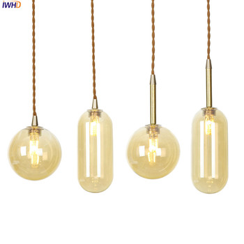IWHD Copper Nordic LED Pendant Light Champagne Glass Hanglamp Simple Hanging Lamp Vintage Lights Fixtures For Home Lighting