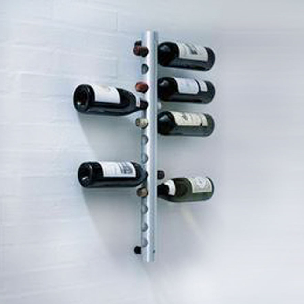 12 Bottles Stainless Steel Wall Mounted Pipe Wine Rack Vertical Rack ...