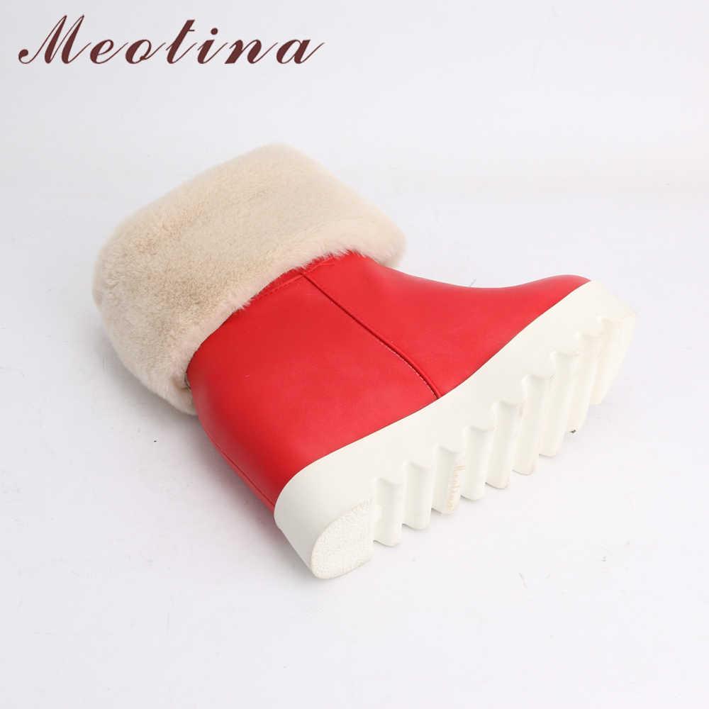 Meotina, botas de plataforma para Invierno para mujer, botas de nieve de felpa con cuña, botas de media caña, zapatos cálidos de piel, rojo, blanco, talla grande 42 43
