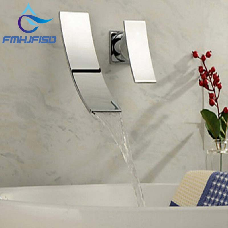 Free Shipping Wholesale And Retail Wall Mounted Waterfall Spout Chrome Brass Bathroom Faucet Single Handle Hot And Cold Mixer us free shipping wholesale and retail chrome finish bathrom sink basin faucet mixer tap dusl handle three holes wall mounted