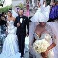 Африканский Свадебные Платья Русалка Стиль Милая Бусы Блестки Атласная Свадебное Платье Развертки Поезд Молния Свадебные Платья Свадебные Платья