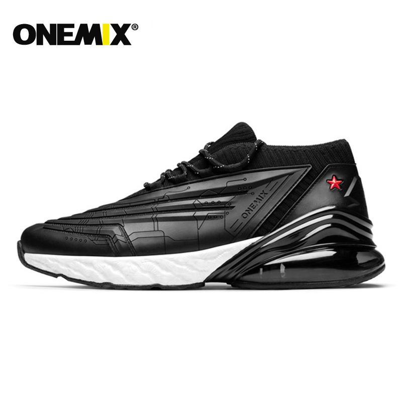 ONEMIX Men Sneakers Women Running Shoes Leather Upper Shock Absorption Cushion Soft Energy Drop Midsole Outdoor