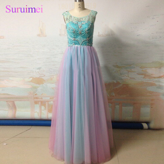 Free Shipping Colorful Tulle Beading Rhinestones A-Line Light Purple Mint  Green Inspired With Real Photos Evening Dresses 0e3ea352c2a6