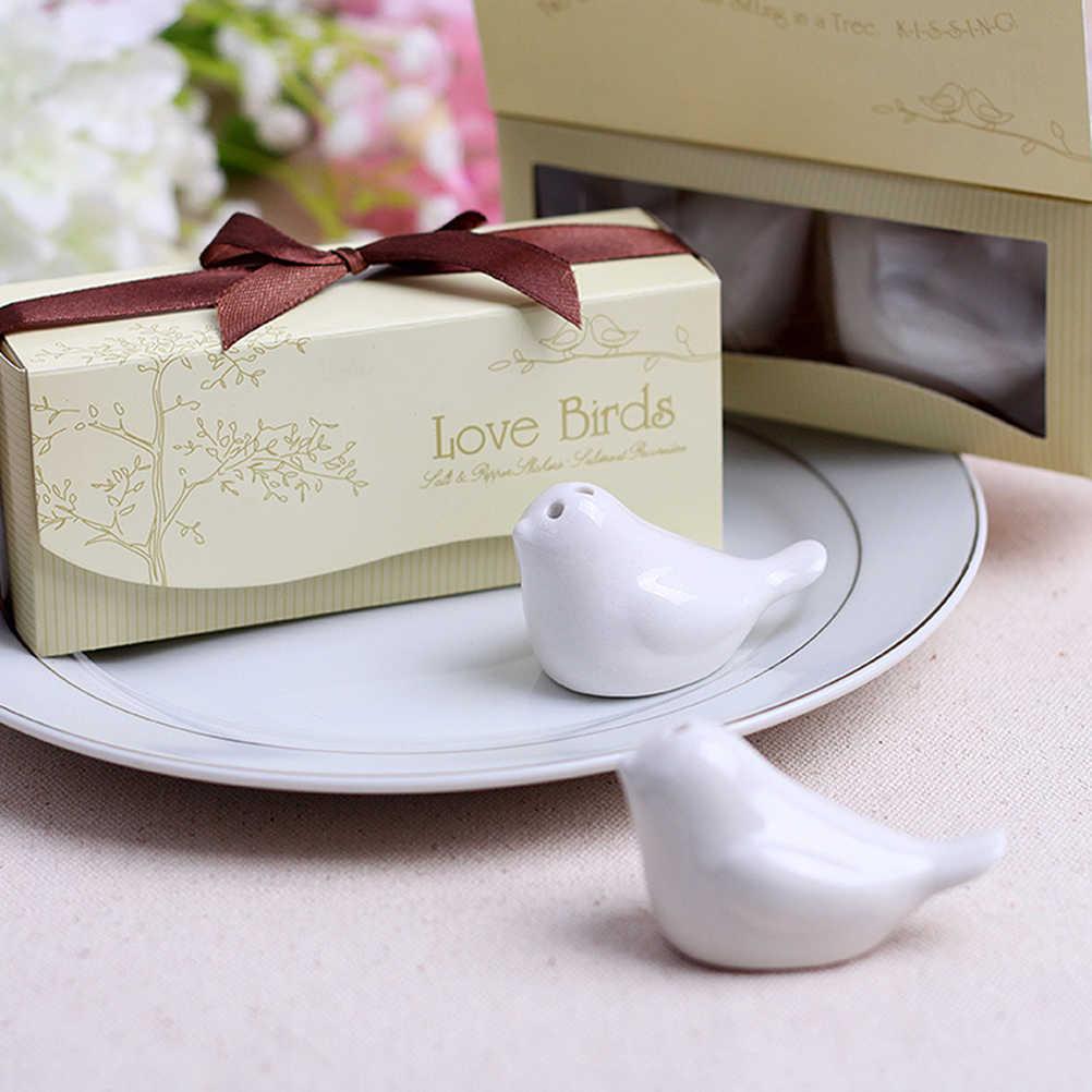 1 ชุดDIYรักนกเซรามิคเกลือและPepper Shakerงานแต่งงานFavorsสำหรับงานแต่งงานของขวัญและParty Favors