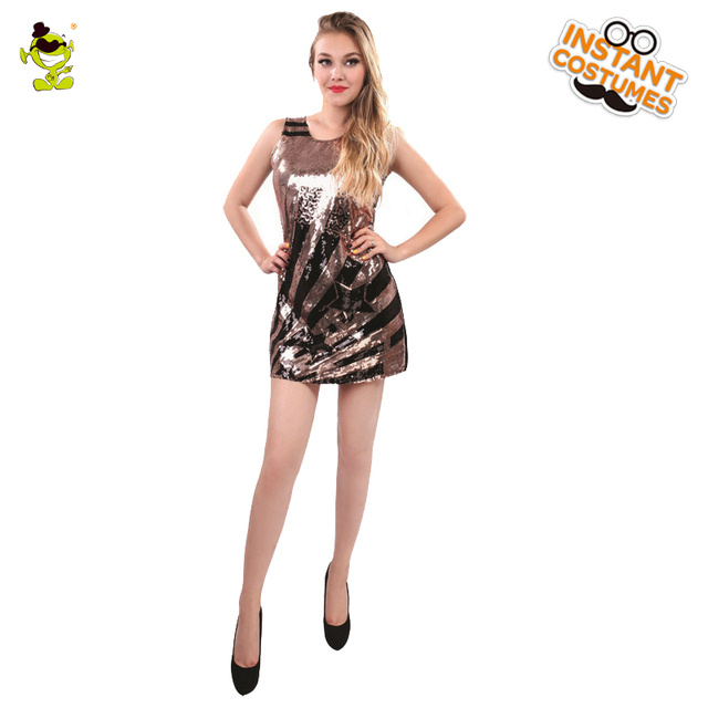 90f0384d06 Adult s Glam Rocker Flapper Costume 80 s Pop Rock Star Sequin Halloween  Fancy Dress Costumes