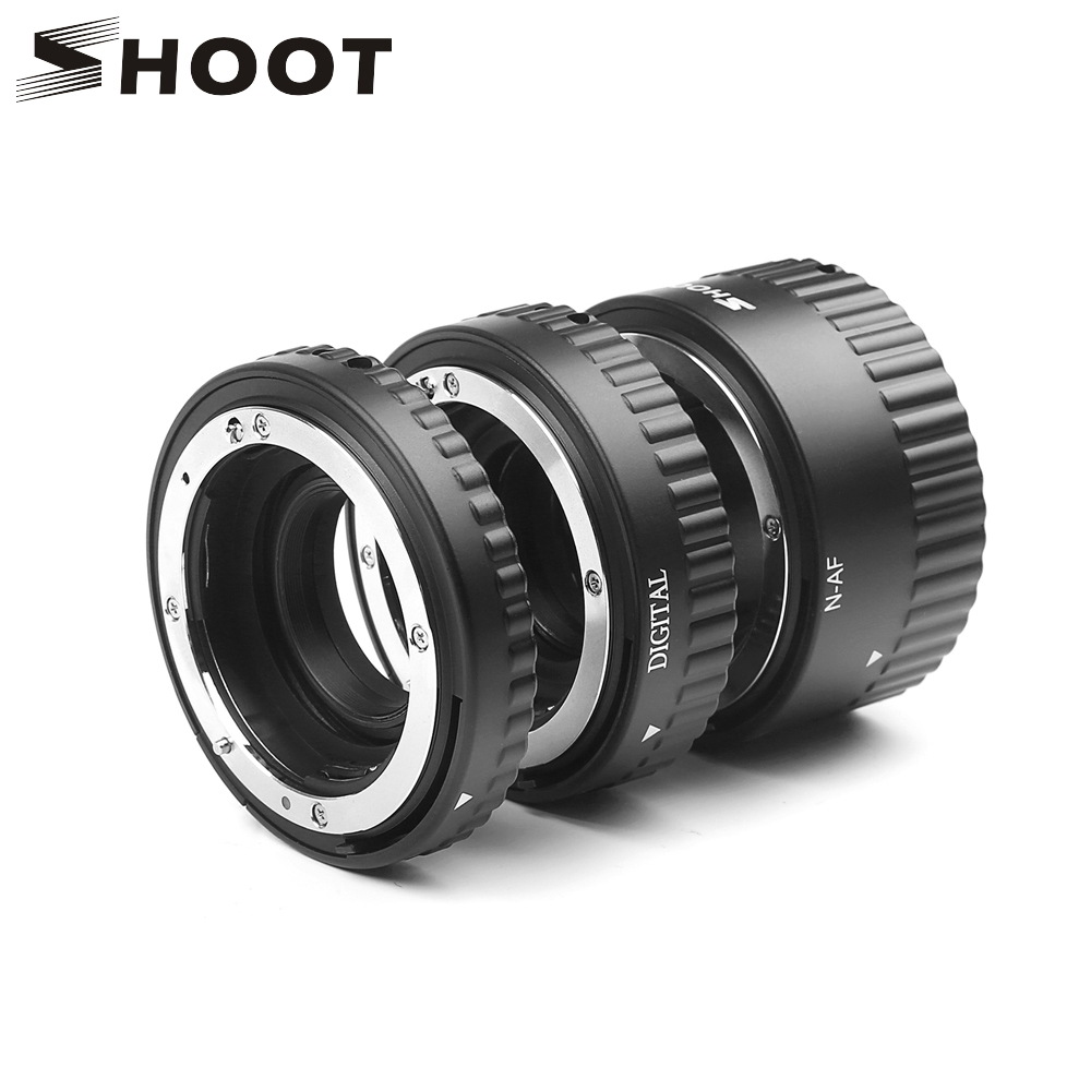 SHOOT 12mm 20mm 36mm Plastic Auto Focus N-AF Macro Extension Tube Set Metal Mount For Nikon D7100 D5100 Black Digital SLR Camera недорго, оригинальная цена