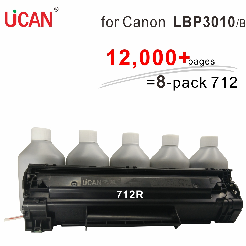 UCAN CTSC(kit) Cartridge 712 for Canon LBP 3010 3010B  MF3010 12,000 pages equivalent to 8-Pack CRG 712 Toner Cartridges canon 712 1870b002 black картридж для принтеров lbp 3010 3020