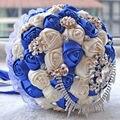 2016 Azul Royal Rendas de Seda Rosa Artificial Bouquets De Casamento De Cristal Bouquet De Noiva Com Pérolas Noivas Bouquets Bouquet De Mariage