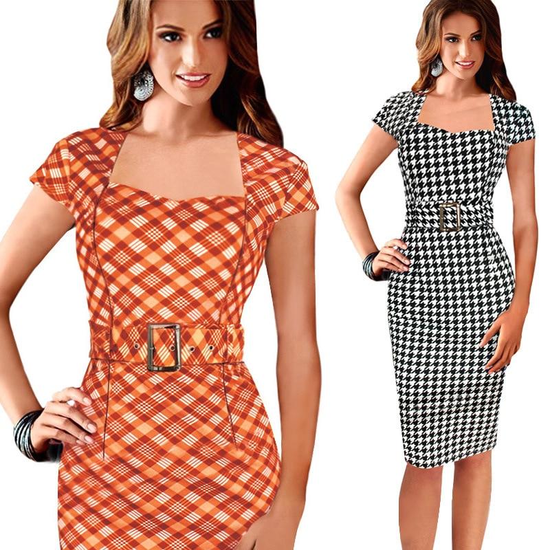 AMI Store FD3101 Lady Preppy Style Pencil Dress Vestidos Jupe Robe Plaid Printing Short Sleeve Slim Dresses Elbise Saias belt as gift