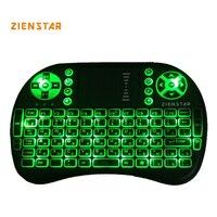 Hohe Qualität Russland Mini 2,4G Wireless Tastatur mit 3 farbe hintergrundbeleuchtung Air FLY Maus Fernbedienung Touchpad Für TV Box Smart TV