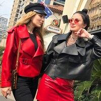 EIFURKOP Loose Lady's Coat Genuine Sheepskin Leather Jacket Oversize