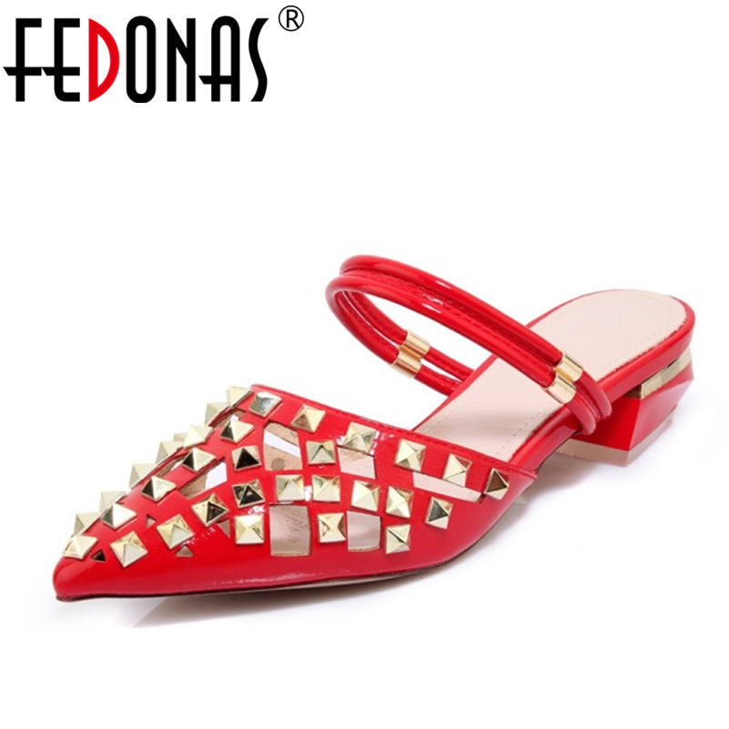 FEDONAS Female Genuine Leather High-heeled Pumps Stiletto Heel Pointed Toe Hollow Shoes Woman Sexy Rivet Shoes Sandals Women