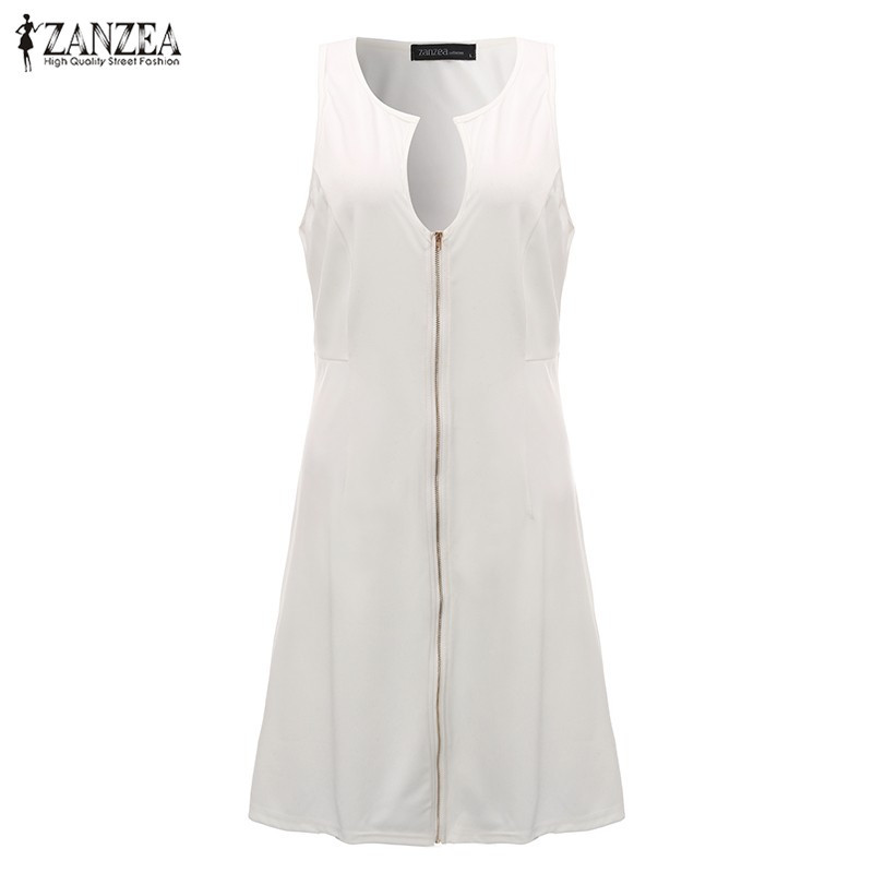 ZANZEA 2018 Women Fashion Dress Sexy V Neck Sleeveless Zipper Solid Stretchy Oversize Knee Length Vestidos Plus Size Black White