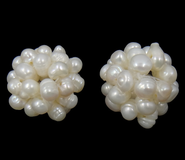 Wholesale Ball Cluster Cultured Pearl Beads Freshwater Pearl Round White 18mm