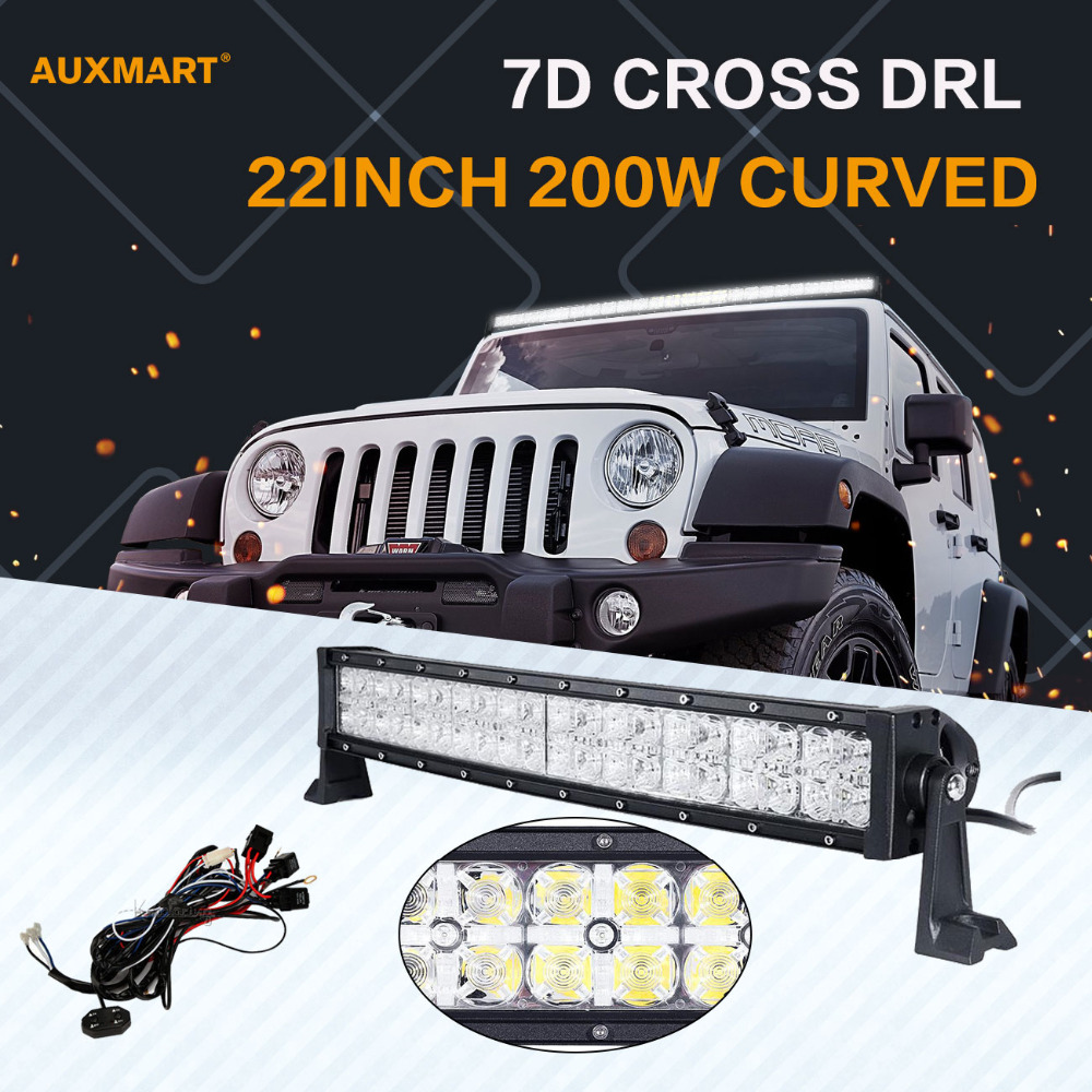 Auxmart 7D Curved LED Light Bar 22inch 200W DRL Spot Flood Beam Offroad 12v 24v Bar Lights for SUV ATV RZV 4x4 4WD Truck Trailer стоимость