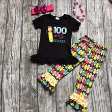 2016 new short top cotton baby girl  boutique pencil print ruffles pants back to school outfits with matching necklace and bow