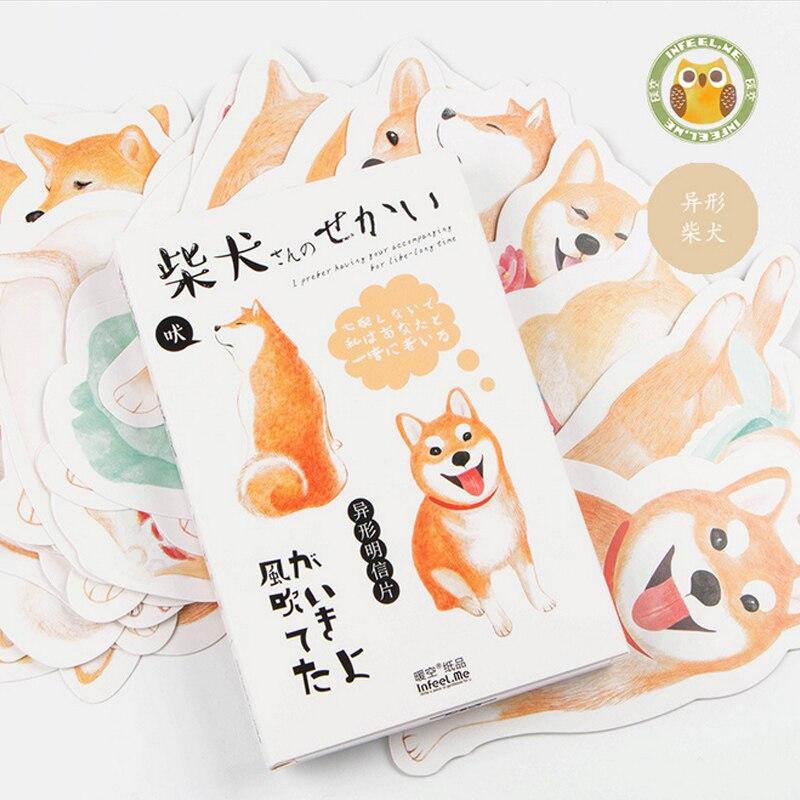 30 Pcs/pack Cute Animal Dog Pet Heteromorphism Greeting Card Postcard Birthday Letter Envelope Gift Card Set Message Card