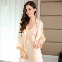 Women Silk Robes Sexy Nightgown Two Pieces Set Gowns Robes Female 100% Silk Long Sleeve Sleepwear Dress Bathrobe Robe Set