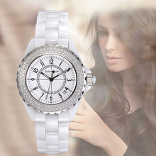 Relojes Mujer 2016 GUANQIN Top Marca de Lujo A Prueba de agua Reloj de Cuarzo Mujer Moda Damas de Cerámica Blanca Relojes Relogio Feminino
